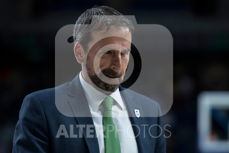 Unicaja coach Joan Plaza during Turkish Airlines Euroleague match between Real Madrid and Unicaja at Wizink Center in Madrid, Spain. November 16, 2017. (ALTERPHOTOS/Borja B.Hojas)