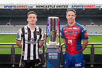 Picture by Allan McKenzie/SWpix.com - 15/05/2017 - Rugby League - Dacia Magic Weekend 2017 Preview - St James Park, Newcastle, England - Widnes's Tom Gilmore & Wakefield's Sam Williams with the Betfred Super League trophy ahead of their Magic Weekend game.