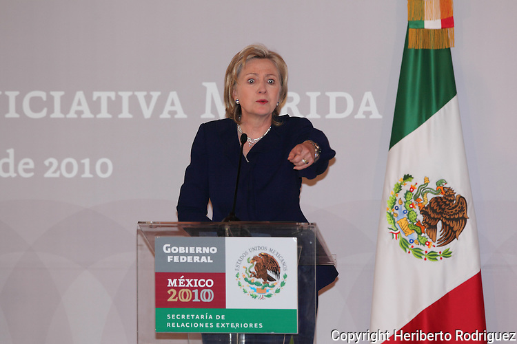 US Secretary of State Hillary Clinton points out as she delivers a press conference in the Mexican Foreign Ministry venue, along with Mexico's Foreign Minister Patricia Espinoza, on March 23, 2010. Clinton is heading the II Merida Initiative High Level Group Meeting today.  Photo by Heriberto Rodriguez