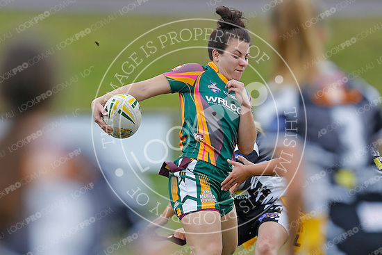 The Wyong Roos play Ourimbah Magpies in Round 18 of the Ladies League Tag Central Coast Competition at Morry Breen Oval on 9 August, 2015 in Kanwal, NSW Australia. (Photo by Paul Barkley/LookPro)