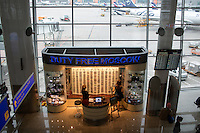 Souvenirs are for sale in Terminal D at Sheremetyevo Airport in Khimki, Moscow, Moskovskii Oblast, Russia.