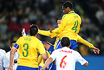 Juan scores the first goal  during the 2010 FIFA World Cup South Africa Round of Sixteen match between Brazil and Chile at Ellis Park Stadium on June 28, 2010 in Johannesburg, South Africa.