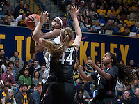 Gennifer Brandon of California tries to shoot the ball during the game against Stanford at Haas Pavilion in Berkeley, California on February 2nd 2014.   Stanford defeated California, 79-64.