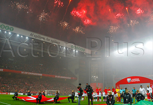 11th November 2017, Telia Parken, Copenhagen, Denmark; FIFA World Cup Qualification, European playoff, 1st leg; Denmark versus Republic of Ireland; Fireworks go off at Telia Parken as the teams line up