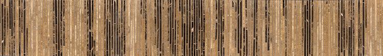 "6"" Zebrano border, a hand-cut stone mosaic, shown in polished Travertine Noce, Emperador Dark, Emperador Light, and Saint Laurent."