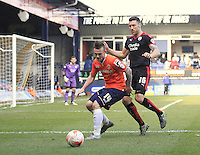 Jack Marriott of Luton Town holds up the ball during the Sky Bet League 2 match between Luton Town and Crawley Town at Kenilworth Road, Luton, England on 12 March 2016. Photo by Liam Smith.