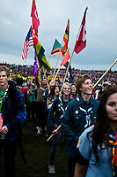 The flag parade of all the participating countries. Photo: Fredrik Sahlström/Scouterna