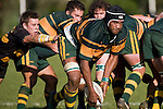 "Carl Radford tries to grasp Manoa Lesavua as he takes the ball off the back of a scrum. CMRFU Counties Power ""Game of the Week' between Bombay & Pukekohe played at Bombay on Saturday 17th May 2008..Pukekohe led 15 - 0 at halftime & went on to win 42 - 5."
