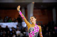 November 8, 2008; Durango, Spain (near Bilbao); Rhythmic gymnast Melitina Staniouta of Belarus waves to fans after her handsfree gala routine at 2008 Euskalgym International..