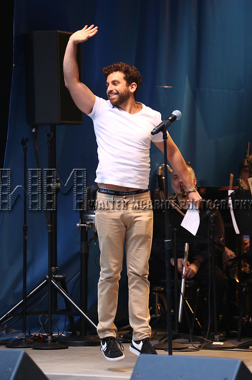 Brandon Uranowitz on stage at United Airlines Presents #StarsInTheAlley free outdoor concert in Shubert Alley on 6/2/2017 in New York City.