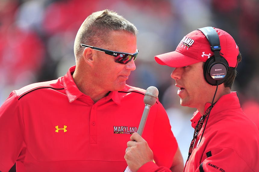 Coach Randy Edsall of the Terrapins is interviewed during half-time. Ohio State trounced Maryland 52-24 during a game at the Capital One Field in Byrd Stadium, College Park, MD on Saturday, October 3, 2014.  Alan P. Santos/DC Sports Box