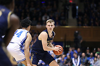 DUKE, NC - FEBRUARY 15: Dane Goodwin #23 of the University of Notre Dame is guarded by Jordan Goldwire #14 of Duke University during a game between Notre Dame and Duke at Cameron Indoor Stadium on February 15, 2020 in Duke, North Carolina.