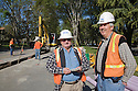 URS employees oversee the pipeline construction. The cities of Palo Alto and Mountain View are jointly constructing a reclaimed water pipeline to carry recycled water from the Palo Alto Regional Water Quality Control Plant to customers along East Bayshore Parkway and Mountain View's North Bayshore area.