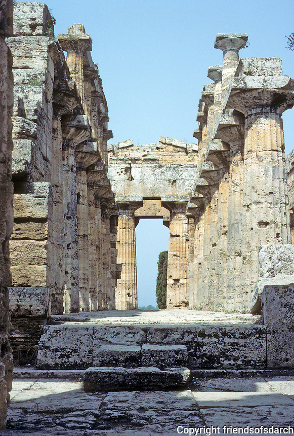 Italy: Paestum--Hera II, down the middle, apparently, the Altar. Photo '83.