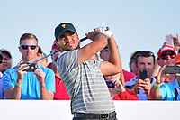 Jason Day (AUS) watches his tee shot on 17 during round 2 Four-Ball of the 2017 President's Cup, Liberty National Golf Club, Jersey City, New Jersey, USA. 9/29/2017.<br /> Picture: Golffile | Ken Murray<br /> <br /> All photo usage must carry mandatory copyright credit (&copy; Golffile | Ken Murray)