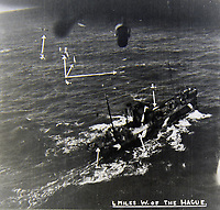 BNPS.co.uk (01202 558833)<br /> Pic:  Tooveys/BNPS<br /> <br /> Taken on 07/09/41 - Blenheim aircraft attacking an enemy flakship, 4 miles west of The Hague.<br /> <br /> (1) and (2) showing direct hits, (3) showing a Blenheim lining up another attack and (4) shows flak bursts in the water.<br /> <br /> Dramatic photos showing a series of heart-pounding World War Two bombing raids from the pilot's perspective have come to light.<br /> <br /> They were taken from Blenheim bombers undertaking attacks on targets in Germany and Nazi-occupied Netherlands in 1941.<br /> <br /> Several capture the immediate aftermath of a direct hit, with flames and clouds of smoke signifying they had achieved their aim.<br /> <br /> The album, which contains almost 100 photos, has emerged for sale with Toovey's Auctions, of Washington, west Sussex.