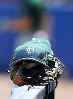 March 23, 2010:  Hat and glove of the Dartmouth Big Green sit on the dugout wall during a game at the Chain of Lakes Stadium in Winter Haven, FL.  Photo By Mike Janes/Four Seam Images
