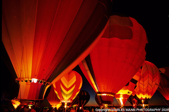 The Glodeo, or Balloon Glow, is where the balloons light up like Chinese lantersn at the Albuquerque International Hot Air Balloon Fiesta
