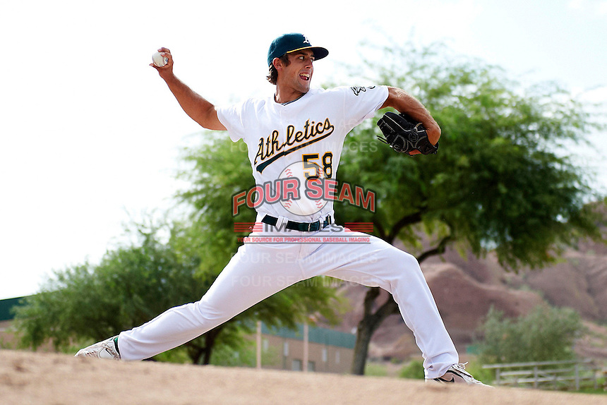 Oakland Athletics minor league pitcher Seth Streich #58 warms up in the bullpen during an instructional league game against the Arizona Diamondbacks at the Papago Park Baseball Complex on October 11, 2012 in Phoenix, Arizona. (Mike Janes/Four Seam Images)