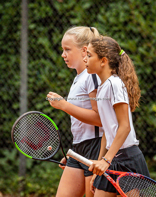 Hilversum, Netherlands, Juli 31, 2019, Tulip Tennis center, National Junior Tennis Championships 12 and 14 years, NJK, Girls Doubles: Britt Du Pree (NED) (L) and Lina Ilahi (NED)<br /> Photo: Tennisimages/Henk Koster