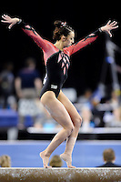Nebraska's Jennie Laeng competes on the balance beam during the semifinals of the NCAA women's gymnastics championships, Friday, April 17, 2015 in Fort Worth, Tex.(Mo Khursheed/TFV Media via AP Images)