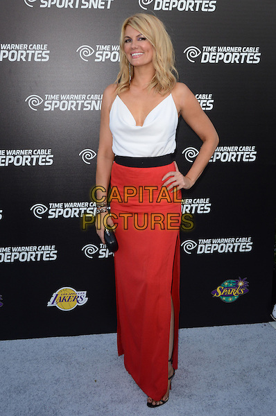 Courtney Hansen.Time Warner Sports Celebrates Launch Of Time Warner Cable Sportsnet And Time Warner Cable Deportes Networks held at Beverly Hills Hotel, El Segundo, California, USA..October 1st, 2012.full length white top red skirt hand on hip black clutch bag waistband belt .CAP/ADM/TW.©Tonya Wise/AdMedia/Capital Pictures.