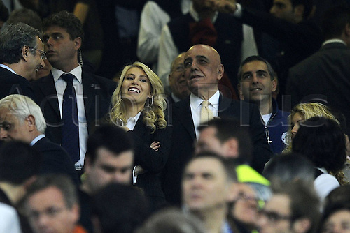 02 04 2011  Milan, Italy.  Series A. AC Milan versus Inter Milan.  Photo Adriano Galliani and Barbara Berlusconi in the crowd at the game