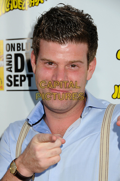 "STEPHEN RANNAZZISI.""It's Always Sunny in Philadelphia"" Season Five and ""The League"" Season One Premiere Screening Celebrating the Sept. 14th DVD/Blu-Ray Release held at The Cinerama Dome, Hollywood, California, USA, 14th September 2010..portrait headshot blue shirt hand finger pointing braces .CAP/ADM/BP.©Byron Purvis/AdMedia/Capital Pictures."