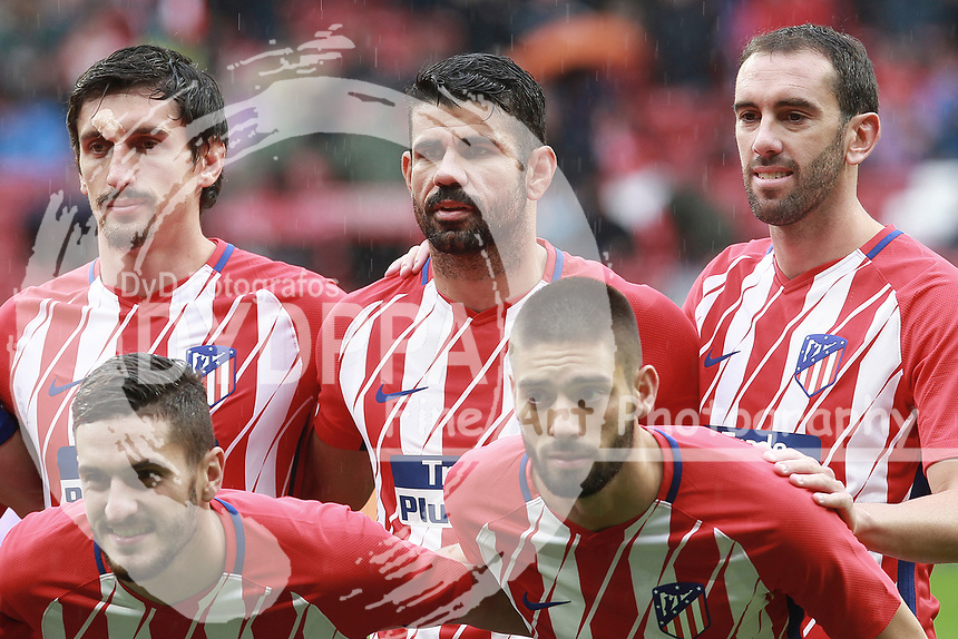 Atletico Madrid's Montenegrin defender Stefan Savic; Atletico Madrid's Spanish forward Diego Costa; Atletico Madrid's Uruguayan defender Diego Godin; Atletico Madrid's Spanish midfielder Koke; Atletico Madrid's Belgian midfielder Yannick Ferreira Carrasco<br /> <br /> Atletico de Madrid vs Getafe Spanish League football match, La Liga Santander, at Wanda Metropolitano stadium in Madrid on January 6, 2017