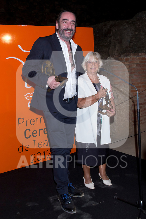30.08.2012. Photocall winners at the 'Ceres Theatre Awards 2012' in Merida (Extremadura). In the image Antonio Belart and Antoñita, viuda de Ruiz (Alterphotos/Marta Gonzalez)