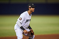 Peoria Javelinas third baseman Jeremy Pena (13), of the Houston Astros organization, during an Arizona Fall League game against the Surprise Saguaros on September 22, 2019 at Peoria Sports Complex in Peoria, Arizona. Surprise defeated Peoria 2-1. (Zachary Lucy/Four Seam Images)