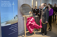 28 October 2016 - Brighton, UK - Prince Philip Duke of Edinburgh unveils a plaque during his visit to the British Airways i360 attraction in Brighton, East Sussex where he took a ride on the world's first vertical cable car. The futuristic-looking structure opened on August 4 and is the world's tallest moving observation tower, standing where the wrecked Grade I-listed West Pier, built in 1866, joined the seafront promenade. Photo Credit: Alpha Press/AdMedia