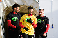 Lincoln City's Lee Angol, left, Lincoln City's Bruno Andrade, centre, and Lincoln City's Harry Anderson during the pre-match warm-up<br /> <br /> Photographer Chris Vaughan/CameraSport<br /> <br /> The EFL Sky Bet League Two - Lincoln City v Northampton Town - Saturday 9th February 2019 - Sincil Bank - Lincoln<br /> <br /> World Copyright &copy; 2019 CameraSport. All rights reserved. 43 Linden Ave. Countesthorpe. Leicester. England. LE8 5PG - Tel: +44 (0) 116 277 4147 - admin@camerasport.com - www.camerasport.com