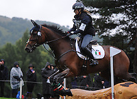 Blair Atholl, Scotland, UK. 12th September, 2015. Longines  FEI European Eventing Championships 2015, Blair Castle. Arianne Schivo (ITA) riding Quefira de l'Ormeau during the Cross country phase © Julie Priestley