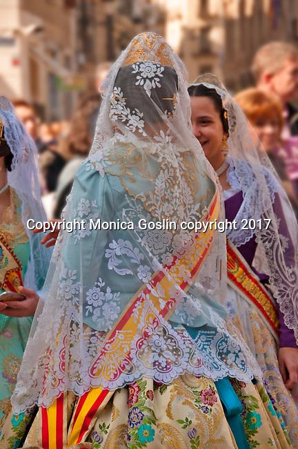 Traditional costumes worn in the Plaza de la Virgen in Valencia, Spain