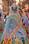 Traditional costumes worn in the Plaza de la Virgen in Valencia, Spain