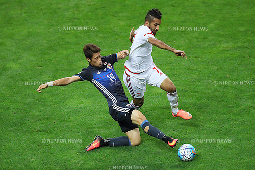 (L to R) <br /> Hiroki Sakai (JPN), <br /> Al Ahmed Mabkhout (UAE), <br /> SEPTEMBER 1, 2016 - Football / Soccer : <br /> FIFA World Cup Russia 2018 Asian Qualifier <br /> Final Round Group B <br /> between Japan 1-2 United Arab Emirates <br /> at Saitama Stadium 2002, Saitama, Japan. <br /> (Photo by YUTAKA/AFLO SPORT)
