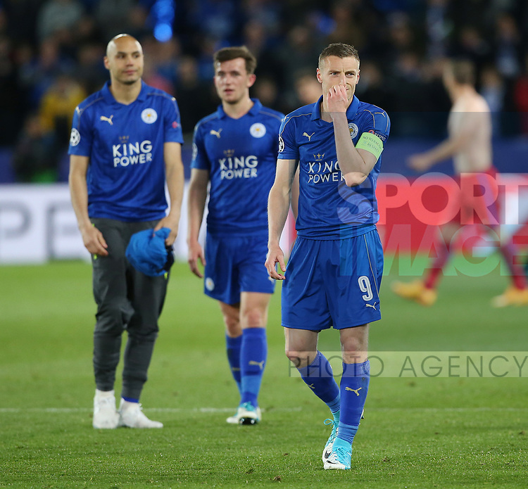 Leicester's Jamie Vardy looks on dejected at the final whistle during the Champions League Quarter-Final 2nd leg match at the King Power Stadium, Leicester. Picture date: April 18th, 2017. Pic credit should read: David Klein/Sportimage