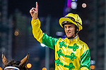 Jockey #8 Zac Purton riding Sky Melody celebrates after winning the race 7 during Hong Kong Racing at Happy Valley Racecourse on September 05, 2018 in Hong Kong, Hong Kong. Photo by Yu Chun Christopher Wong / Power Sport Images