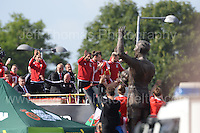 Fans at the stadium, their camera's at the ready, where even the statue waved, as the Wales squad arrive by an open top bus during the homecoming celebrations at the Cardiff City stadium on Friday 8th July 2016 for the Euro 2016 Wales International football squad.<br /> <br /> <br /> Jeff Thomas Photography -  www.jaypics.photoshelter.com - <br /> e-mail swansea1001@hotmail.co.uk -<br /> Mob: 07837 386244 -