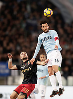 Calcio, Serie A: Lazio - Genoa, Roma, Stadio Olimpico, 5 Febbraio 2018. <br /> Lazio's Marco Parolo (r) in action with Genoa's Andrey Galabinov (l) during the Italian Serie A football match between Lazio and Genoa at Rome's Stadio Olimpico, February 5, 2018.<br /> UPDATE IMAGES PRESS/Isabella Bonotto