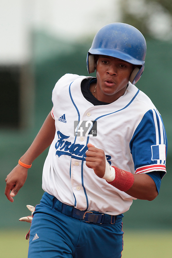 18 August 2010: Andy Paz Garriga of Team France runs the bases during the France 7-3 win over Ukraine, at the 2010 European Championship, under 21, in Brno, Czech Republic.