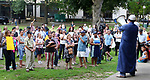 WATERBURY CT. 14 August 2017-081417SV12-People come together while listening to speakers at a &quot;solidarity&quot; gathering in Library Park in Waterbury Monday. The gathering was in response to Saturday's protests in Charlottesville, VA. <br /> Steven Valenti Republican-American