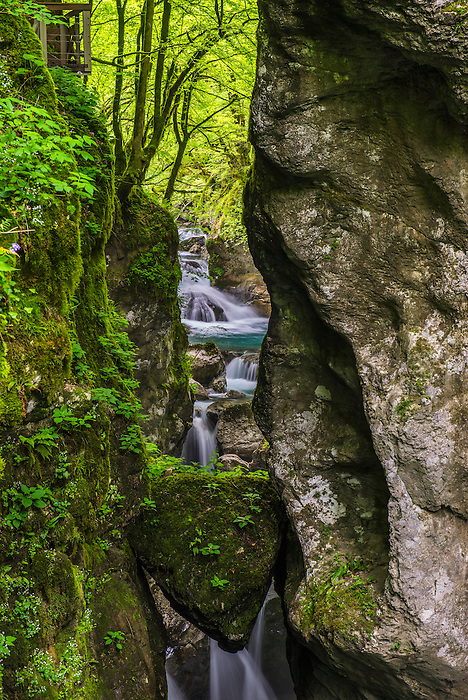 Tolmin Gorges, Slovenia. 'Bears Head', a natural bridge across the Zadlascica River Canyon, Triglav National Park, Slovenia, Europe