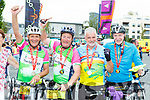 Joh Joe Clifford, Michael Clifford both Killarney Tom Browne Castlegregory and Jack McCarthy Killarney celebrate at the finish of the Ring of Kerry cycle in Killarney on Saturday