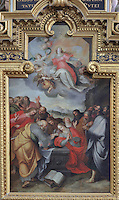 The Assumption of the Virgin, by Francois Francken the Younger, 1581-1642, on the altarpiece of the Chapelle de Notre Dame du Pilier Rouge, or Chapel of Our Lady of the Red Pillar, also called Our Lady of the Puy, on the East side of the South transept of the Basilique Cathedrale Notre-Dame d'Amiens or Cathedral Basilica of Our Lady of Amiens, built 1220-70 in Gothic style, Amiens, Picardy, France. The altar itself was designed by was executed by Nicolas Blasset in 1627. Amiens Cathedral was listed as a UNESCO World Heritage Site in 1981. Picture by Manuel Cohen