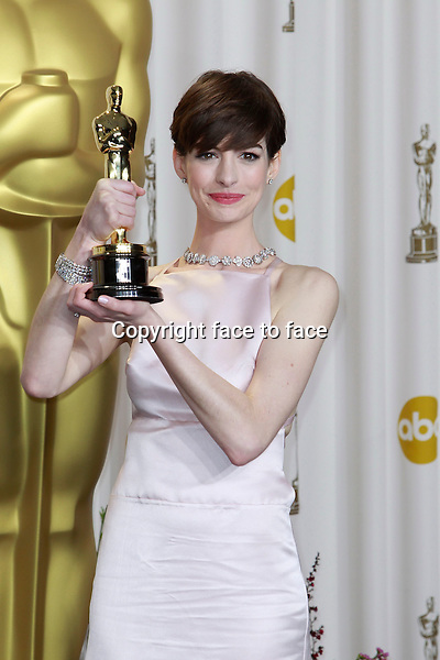 Anne Hathaway attending the 85th Academy Awards at the Hollywood and Highland Center in Hollywood, California, 24.02.2013...Credit: MediaPunch/face to face..- Germany, Austria, Switzerland, Eastern Europe, Australia, UK, USA, Taiwan, Singapore, China, Malaysia and Thailand rights only -