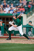 Fort Wayne TinCaps right fielder Jack Suwinski (2) hits a single and drives in a run during a game against the West Michigan Whitecaps on May 17, 2018 at Parkview Field in Fort Wayne, Indiana.  Fort Wayne defeated West Michigan 7-3.  (Mike Janes/Four Seam Images)