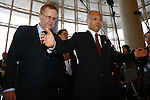 (L-R)<br /> John Coates IOC Vice President,<br />  Yoichi Masuzoe, <br /> APRIL 3, 2014 : IOC committee members inspected the athletes village, Koji Murofushi director, Yoichi Masuzoe Tokyo governor  and U23 Rowing national team's member was welcomed at Harumi Port Terminal in Tokyo, Japan. (Photo by AFLO SPORT) [1195]