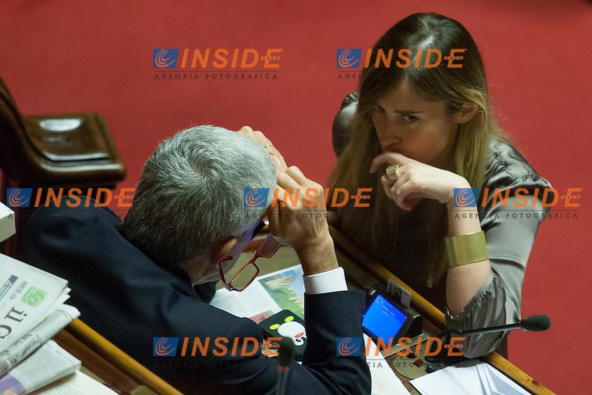 Marie Elena Boschi e Pier Ferdinando Casini<br /> Roma 01-08-2014  Senato. Discussione sul DdL Riforme costituzionali che prevede anche la riforma del Senato. <br /> Photo Samantha Zucchi Insidefoto
